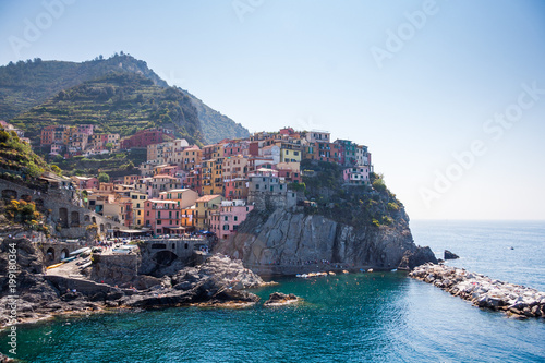 Photographie  Manarola on the Cinque Terre  (meaning Five Lands) on Ligurian Riviera in Italy