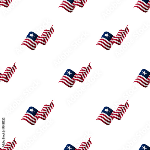 Seamless pattern with waving flag  Liberia flag  Vector