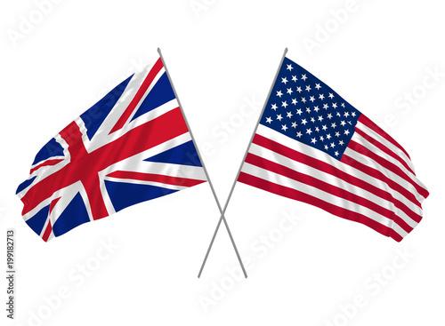 Obraz UK and USA combined flags waving - fototapety do salonu
