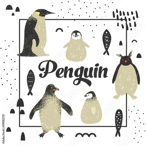 Baby Shower Design with Cute Penguins Canvas-taulu