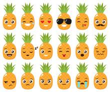 Vector Set Of Cute Pineapple Emojis