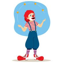 Funny Juggler Clown Performing...