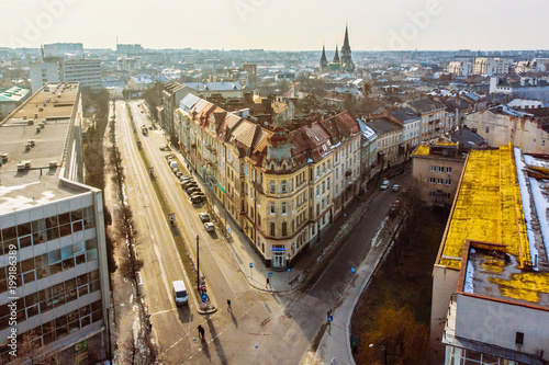 Fotobehang Praag winter view of european city. birds eye view.