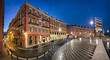 Place Massena square with red buildings at dusk in Nice, France