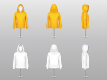 Vector Set Of Realistic Hoodies On Mannequins And Metal Poles, Sweatshirt Unisex Model With Long Sleeves And Pockets, In Two Colors White And Yellow Isolated On Background. Mockup For Clothes Design