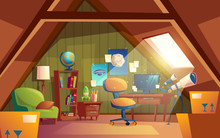 Vector Attic Interior, Children Playroom With Furniture. Cozy Cartoon Room Under Roof With Telescope, Posters, Armchair, Table, Bookshelf. Architecture Background Of Garret, Mansarda.