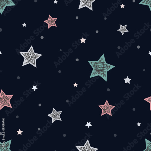 Cotton fabric Seamless childish pattern with stars. Abstract night background for christmas card, new year invitation, poster, textile, fabric.