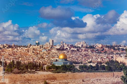 Fotobehang Midden Oosten Dome of the Rock and Western Wall in Jerusalem