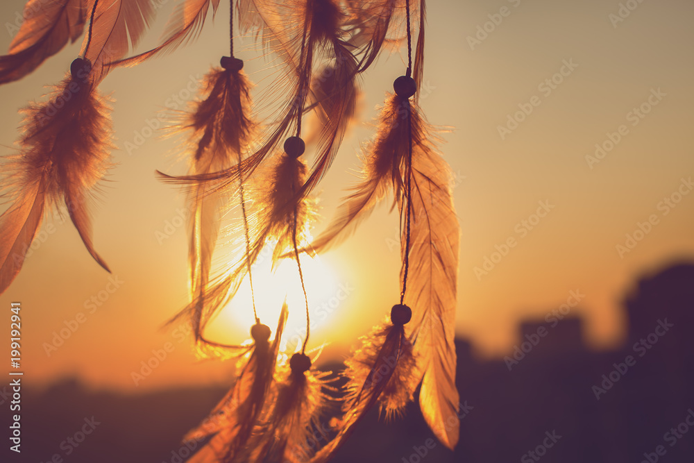 Dreamcatcher sunset , boho chic, ethnic amulet,symbol