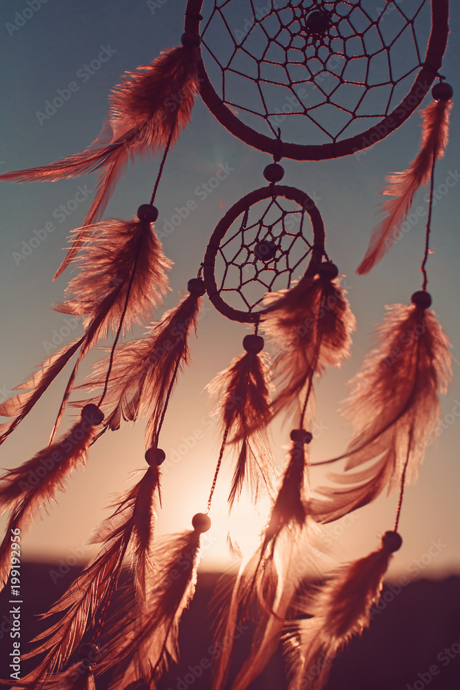 Dreamcatcher sunset , boho chic, ethnic amulet