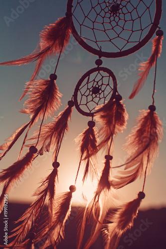 Foto auf AluDibond Boho-Stil Dreamcatcher sunset , boho chic, ethnic amulet