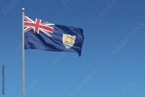 Photo Flag of Anguilla flying on a clear blue sky