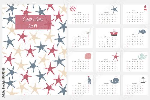 Buy Calendar 2019 Calendar 2019 with cute hand drawn nautical elements. Vector