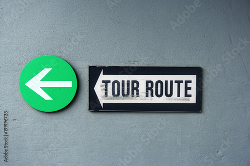 Tour route sign and arrow onboard the USS Missouri, Pearl Harbor, Honolulu, Hawaii Poster