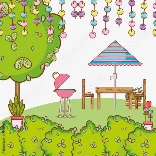 Beautiful garden cartoon