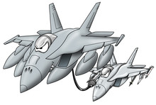 Refueling Military Jet Giving Fuel To A Military Fighter Jet Cartoon Graphic
