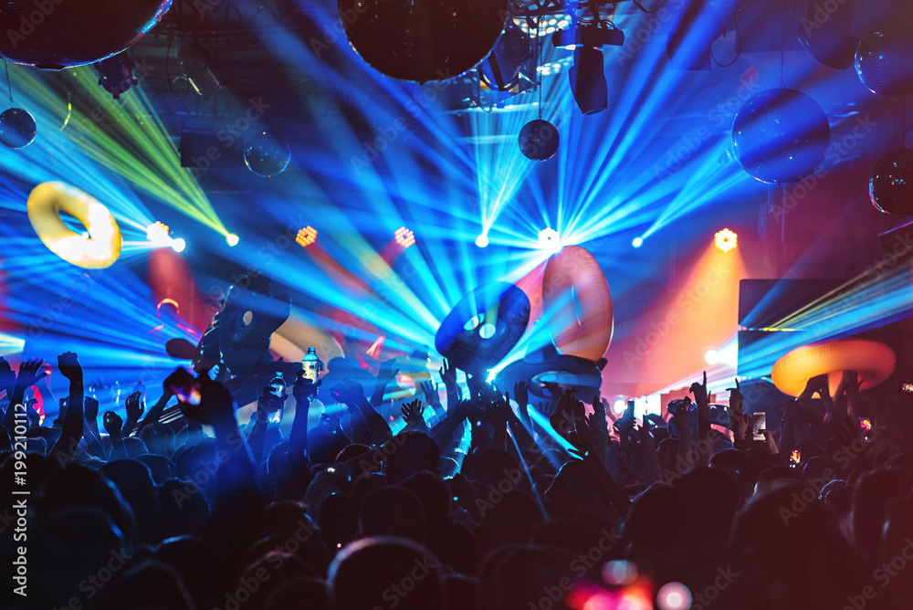 Fototapety, obrazy: dj night club party rave with crowd in music festive