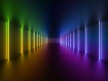 3d Render, Glowing Lines, Neon...