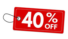 Special Offer 40% Off Label Or Price Tag