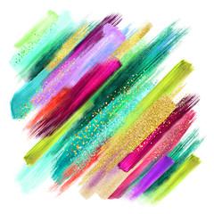 apstraktni potezi kistom akvarela izolirani na bijeloj boji, kreativna ilustracija, umjetnička paleta boja, boho moda, zamršena etnička podloga, grubi mrlja, smaragdno zeleno fuksije zlato