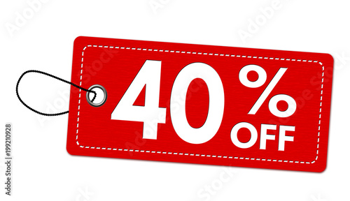 Special offer 40% off label or price tag Fototapeta