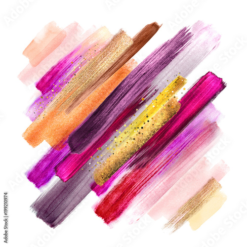 Papiers peints Style Boho abstract paint smears isolated on white, watercolor brush strokes, fashion make up palette, sparkling gold shimmer, intricate ethnic background, fuchsia pink yellow colors