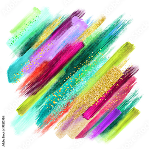 Papiers peints Style Boho abstract watercolor brush strokes isolated on white, creative illustration, artistic color palette, boho fashion, intricate ethnic background, grungy smear, emerald green fuchsia gold