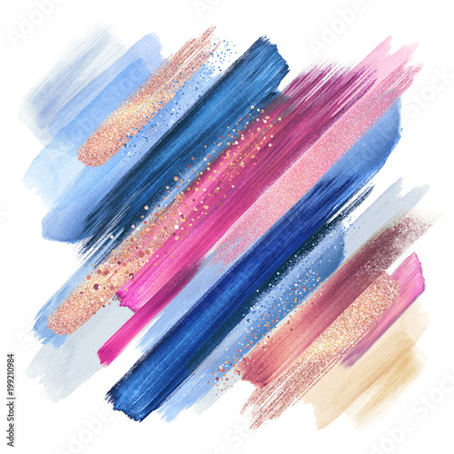 Poster Boho Stijl abstract paint smears isolated on white, watercolor brush strokes, fashion make up palette, sparkling shimmer, intricate ethnic background, pink blue colors