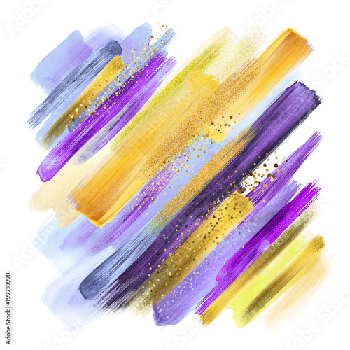 Photo sur Aluminium Style Boho abstract watercolor brush strokes isolated on white, gouache paint grungy smear, artistic colors, natural violet purple yellow palette, gold glitter, boho fashion, intricate ethnic background