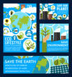 Vector posters for ecology planet saving