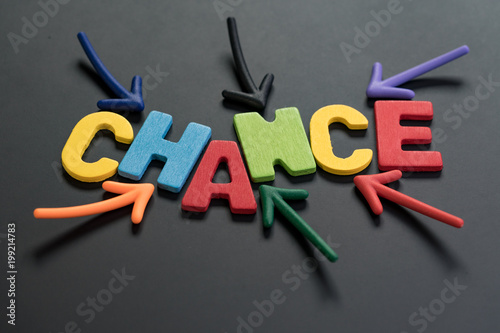 chance can change life or career path job or work journey concept colorful arrows pointing to the word chance at the center on black chalkboard