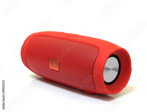 red bluetooth speaker isolated on white background Wallpaper Mural