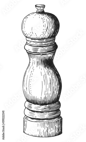 Fotomural  Hand drawn pepper mill