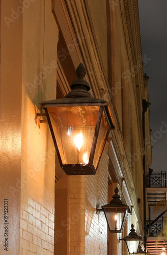 New Orleans French Quarter Gas Lights Night Street View With Glowing Real Lanterns On