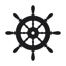 Ship Steering Wheel Icon On Wh...
