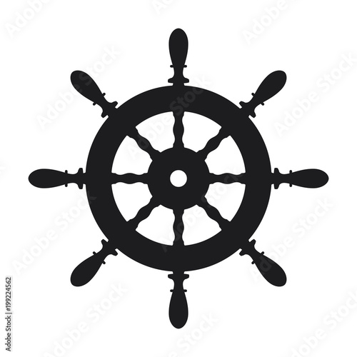 Fotomural  Ship steering wheel icon on white background