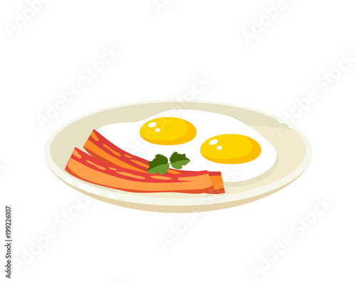 Staande foto Thee Breakfast, delicious start to the day. Plate with fried eggs, slices of bacon. Vector illustration cartoon flat icon isolated on white.