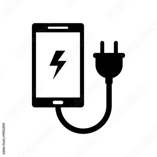 Foto phone charger sign isolated vector