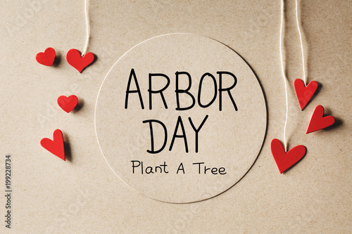 Arbor Day message with handmade small paper hearts Canvas Print