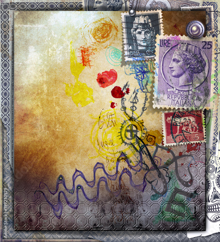 Foto op Canvas Imagination Colored murals with old stamps and sketches