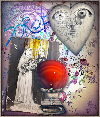 Imagination Sfondo surreale con palla di cristallo,cuore e vecchia fotografia