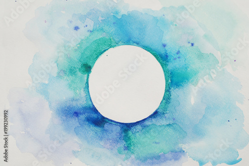 Photo Stands Painterly Inspiration Watercolor Stylized Circle in Blue Colors on a White Textured Background. Watercolor.