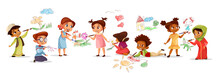 Children Of Different Nationality Drawing Pictures With Chalk Pencils Vector Illustration Of Cartoon Kids Kindergarten. Flat Design Boys And Girls With Color Pencils Draw Pictures On Walls And Floor