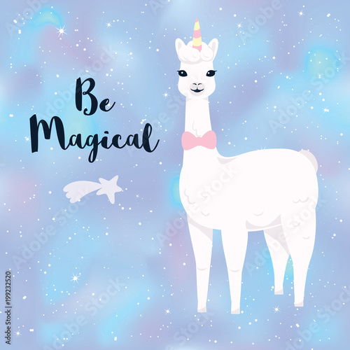 Cute cartoon llama character with No drama llama motivational quote Canvas Print