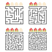 A Square Labyrinth With An Entrance And An Exit. A Set Of Four Options From Simple To Complex. With A Rating Of Cute Cartoon Mushrooms. Vector Illustration Isolated On White Background.