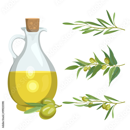 Fototapeta Bottle with olive oil and olive branches obraz