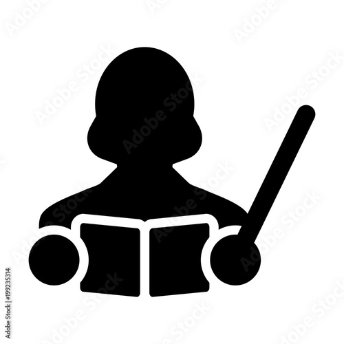 Teacher Icon Vector Female Person Profile Avatar With A Book And Teaching In School College Or University For Education In Glyph Pictogram Symbol Illustration Buy This Stock Vector And Explore Similar