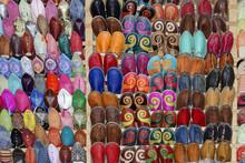 Typisch Marokkanische Pantoffeln Aus Leder, Essaouira, Marokko, Afrika