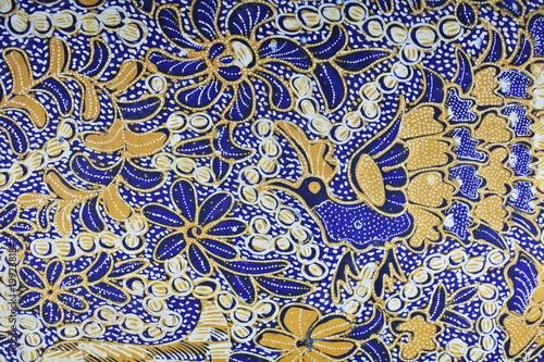 Indonesian batik fabric pattern. Vintage style Wallpaper Mural