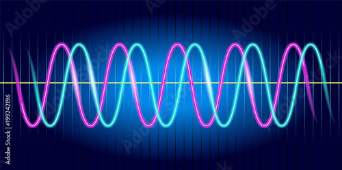 Photo Neon wave graph. Oscilloscope with image of wave diagram.